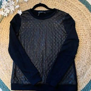 Black quilted front sweater